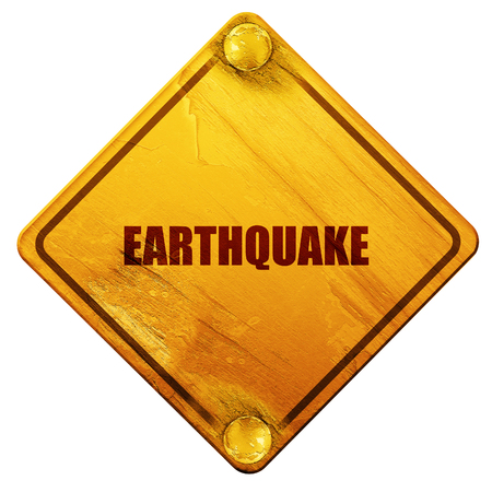 chap: earthquake, 3D rendering, yellow road sign on a white background