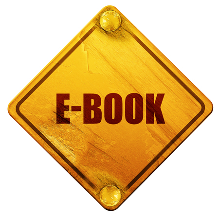databank: e-book, 3D rendering, yellow road sign on a white background