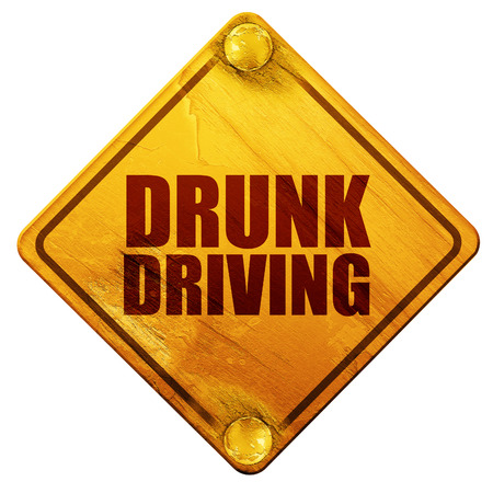 drunk driving: drunk driving, 3D rendering, yellow road sign on a white background