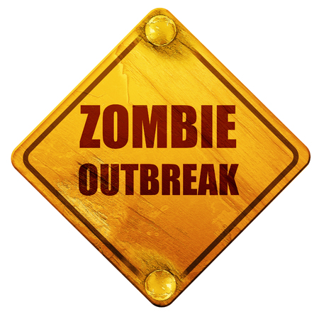 quarantine: zombie virus concept background with some soft smooth lines, 3D rendering, yellow road sign on a white background Stock Photo
