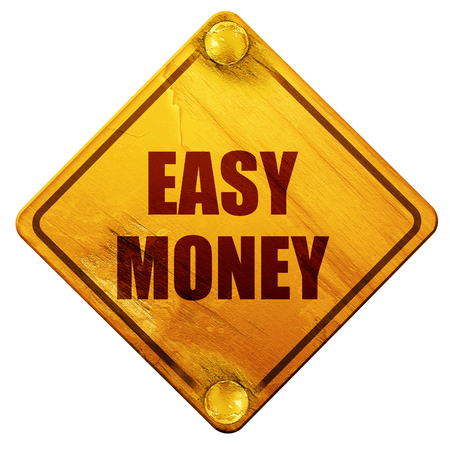 make money fast: easy money, 3D rendering, yellow road sign on a white background Stock Photo