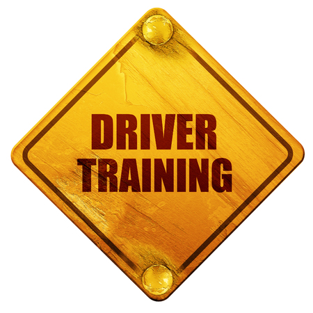driver license: driver training, 3D rendering, yellow road sign on a white background