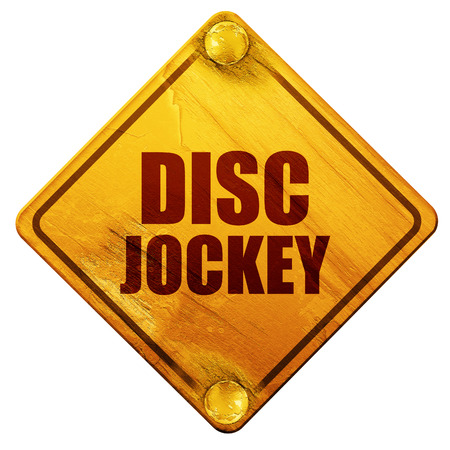 disc jockey, 3D rendering, yellow road sign on a white background Stock Photo