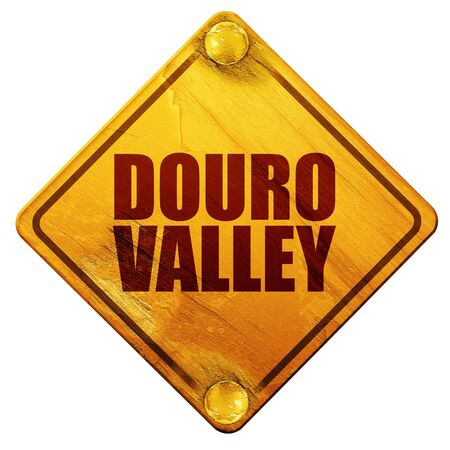 port wine: douro valley, 3D rendering, yellow road sign on a white background