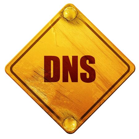 dns: dns, 3D rendering, yellow road sign on a white background