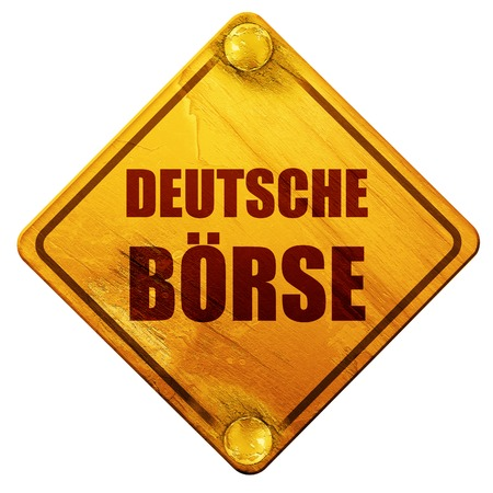 frankfurt germany: deutsche borse, 3D rendering, yellow road sign on a white background Stock Photo