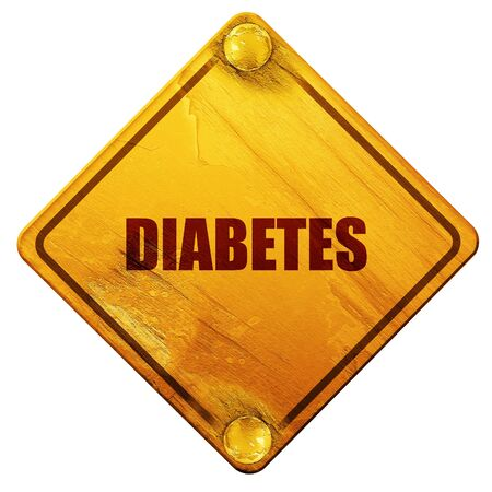 diabetes, 3D rendering, yellow road sign on a white background Zdjęcie Seryjne