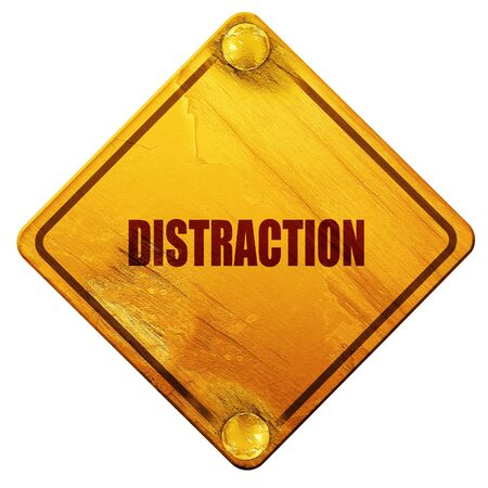 interruption: distraction, 3D rendering, yellow road sign on a white background
