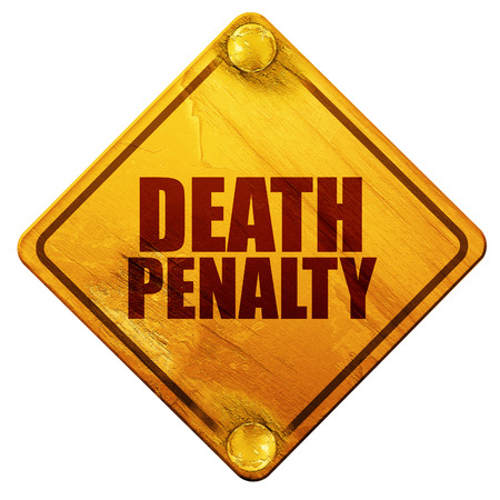electrocution: death penalty, 3D rendering, yellow road sign on a white background Stock Photo