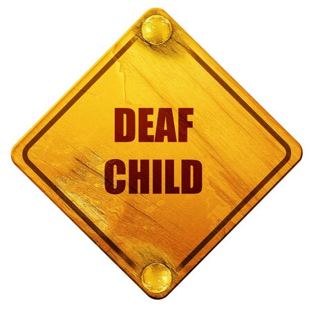 physical impairment: Deaf child sign with yellow and black colors, 3D rendering, yellow road sign on a white background Stock Photo