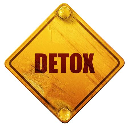 toxins: detox, 3D rendering, yellow road sign on a white background