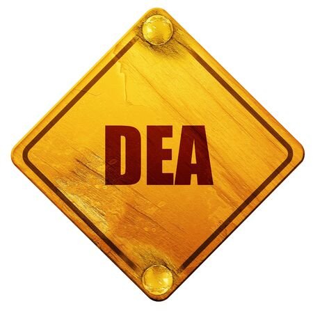 unlawful act: dea, 3D rendering, yellow road sign on a white background Stock Photo