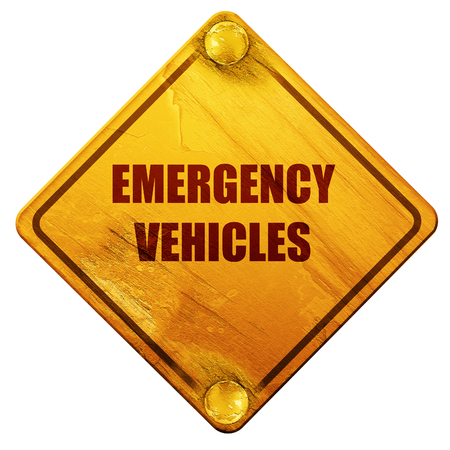 manners: Emergency services sign with yellow and black colors, 3D rendering, yellow road sign on a white background