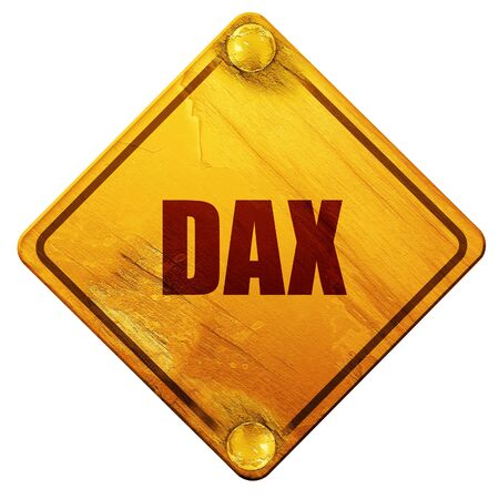 dax: dax, 3D rendering, yellow road sign on a white background Stock Photo