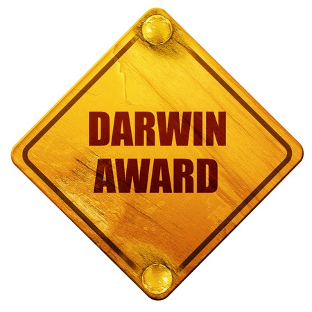 darwin: darwin award, 3D rendering, yellow road sign on a white background Stock Photo