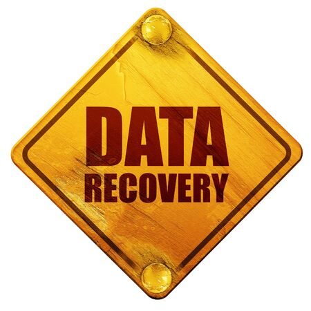 road to recovery: data recovery, 3D rendering, yellow road sign on a white background