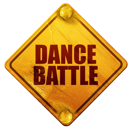 3d dance: dance battle, 3D rendering, yellow road sign on a white background