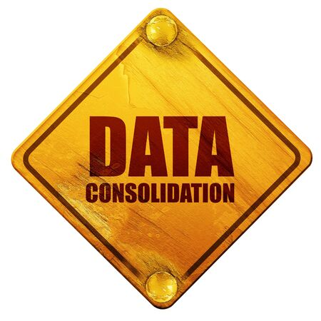 consolidation: data consolidation, 3D rendering, yellow road sign on a white background Stock Photo