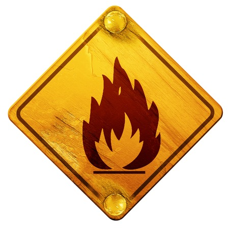 combustible: Flammable hazard sign with yellow and black colors, 3D rendering, yellow road sign on a white background