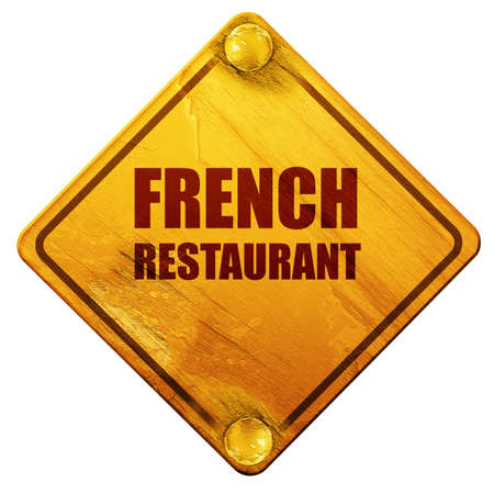 french cuisine: Delicious french cuisine, 3D rendering, yellow road sign on a white background Stock Photo