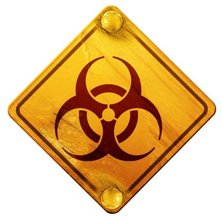 bio hazard: Bio hazard sign on a grunge background, 3D rendering, yellow road sign on a white background Stock Photo