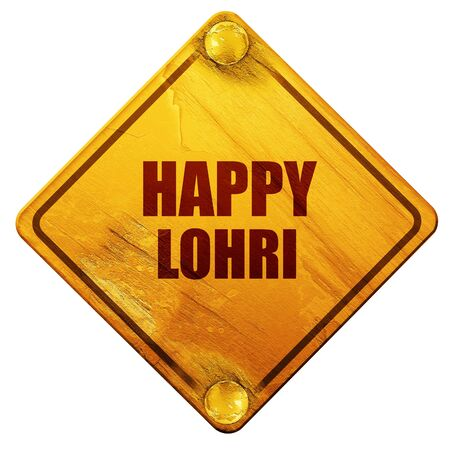 sikhism: happy lohri, 3D rendering, yellow road sign on a white background