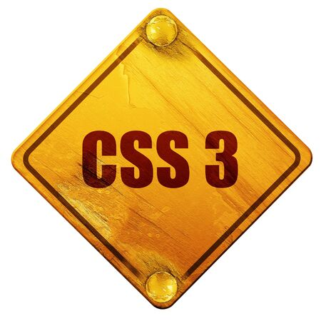 css 3, 3D rendering, yellow road sign on a white background