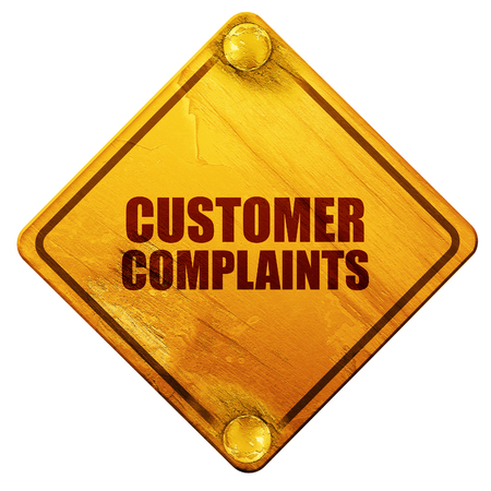 recline: customer complaints, 3D rendering, yellow road sign on a white background Stock Photo