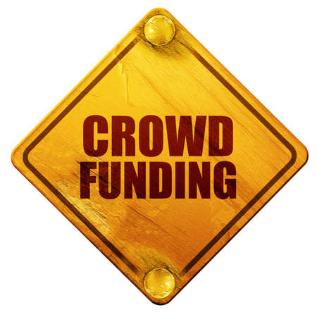 euro screw: crowd funding, 3D rendering, yellow road sign on a white background Stock Photo