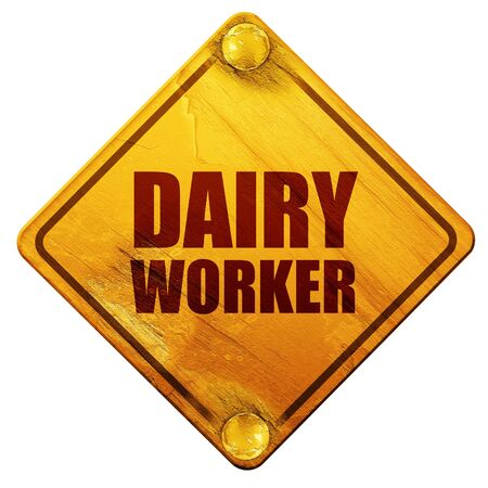 isolation tank: dairy worker, 3D rendering, yellow road sign on a white background Stock Photo