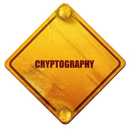 cryptography: cryptography, 3D rendering, yellow road sign on a white background