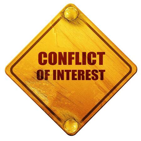 conflit d'intérêts, rendu 3D, signe de route jaune sur un fond blanc Banque d'images