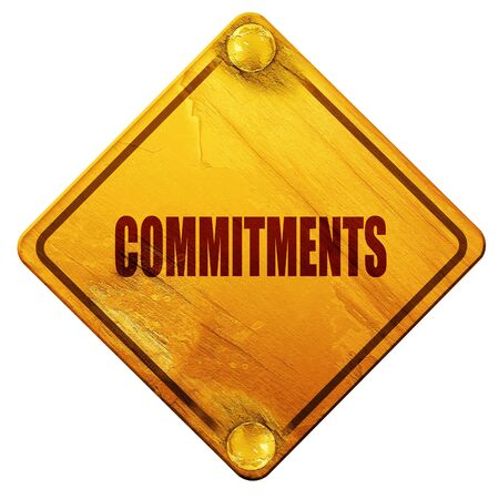 commitments: commitments, 3D rendering, yellow road sign on a white background