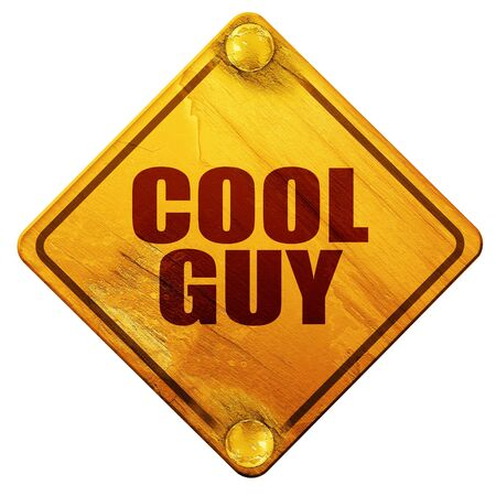 cool guy: cool guy, 3D rendering, yellow road sign on a white background