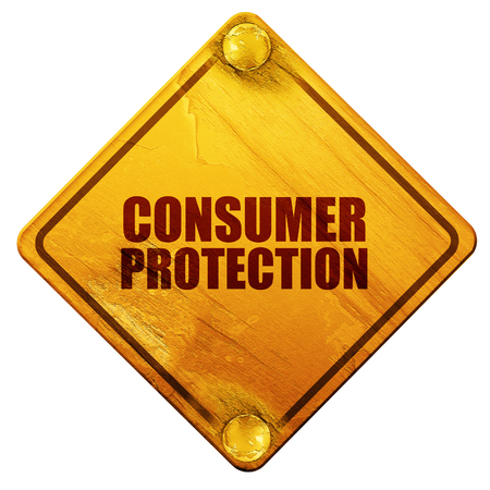 western script: consumer protection, 3D rendering, yellow road sign on a white background