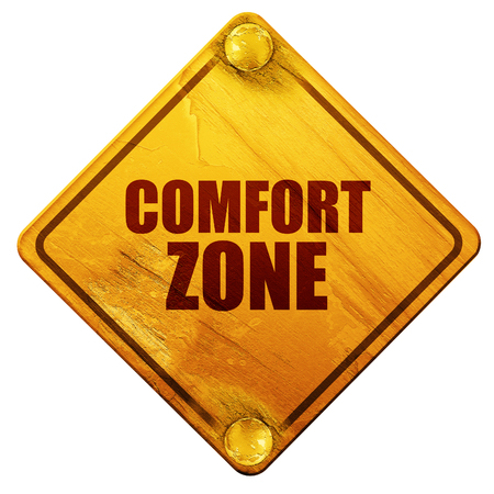 persevere: comfort zone, 3D rendering, yellow road sign on a white background