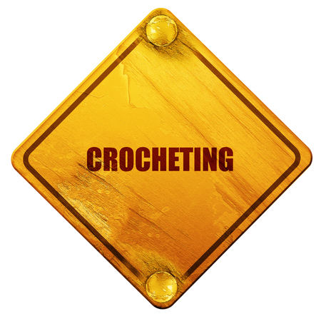 crocheted: crocheting, 3D rendering, yellow road sign on a white background Stock Photo