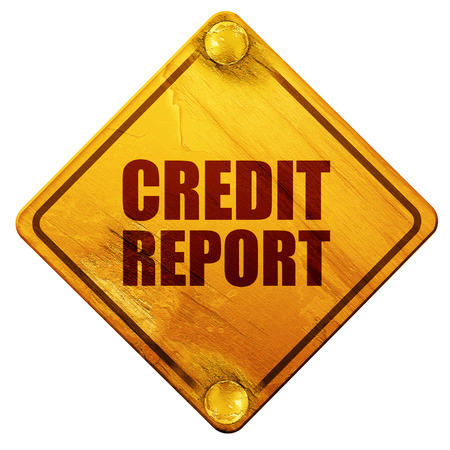 creditworthiness: credit report, 3D rendering, yellow road sign on a white background Stock Photo