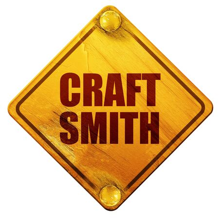 smith: craft smith, 3D rendering, yellow road sign on a white background Stock Photo
