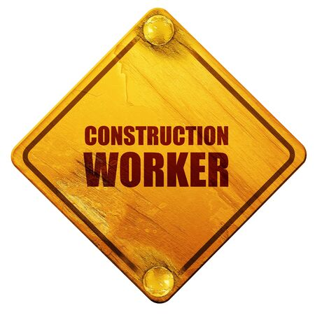 building site: construction worker, 3D rendering, yellow road sign on a white background Stock Photo