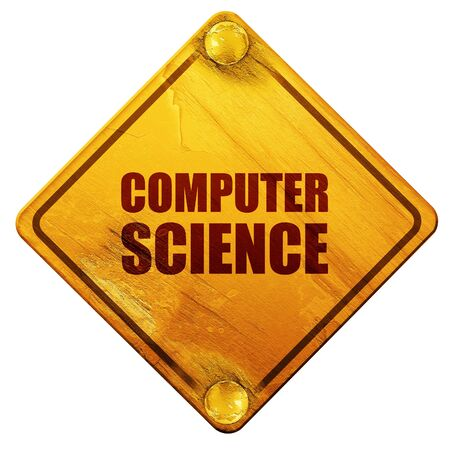 old pc: computer science, 3D rendering, yellow road sign on a white background