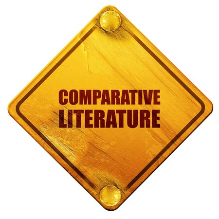 comparative: comparative literature, 3D rendering, yellow road sign on a white background Stock Photo