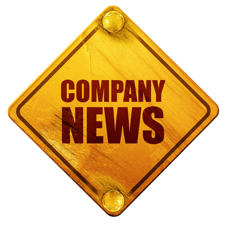 tabloid: company news, 3D rendering, yellow road sign on a white background