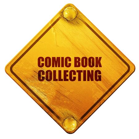 collecting: comic book collecting, 3D rendering, yellow road sign on a white background Stock Photo