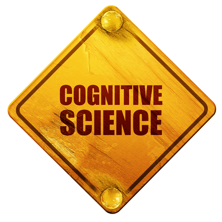 cognitive: cognitive science, 3D rendering, yellow road sign on a white background Stock Photo