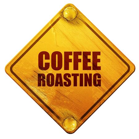 roasting: coffee roasting, 3D rendering, yellow road sign on a white background Stock Photo