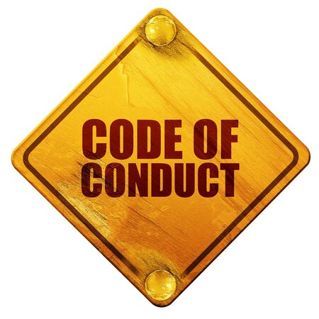 conduct: code of conduct, 3D rendering, yellow road sign on a white background