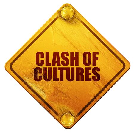 clash: clash of cultures, 3D rendering, yellow road sign on a white background