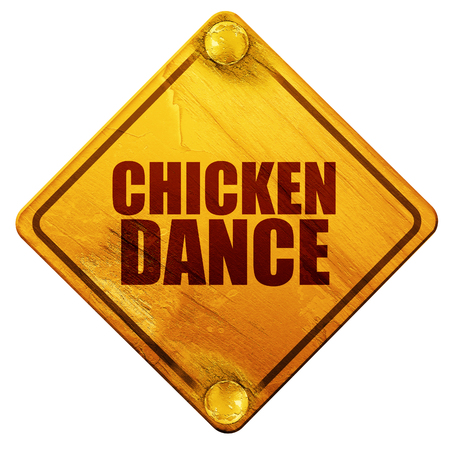 3d chicken: chicken dance, 3D rendering, yellow road sign on a white background Stock Photo