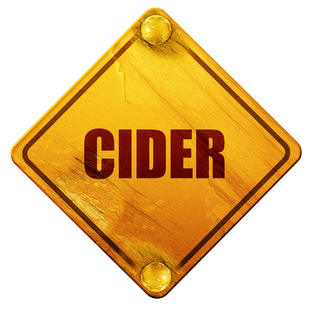 bottle screw: cider, 3D rendering, yellow road sign on a white background Stock Photo